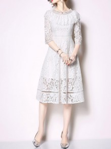 White Patchwork Lace Ruffle Chiffon Three Quarter Length Sleeve Elegant Flowy Wedding Guest Maxi Dress