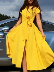 Yellow Single Breasted Sashes Pockets V-neck Short Sleeve Going out Midi Dress