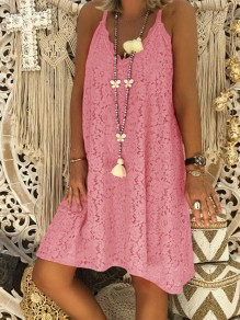 Pink Patchwork Lace Condole Belt V-neck Going out Midi Dress