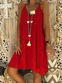Red Patchwork Lace Condole Belt V-neck Going out Midi Dress