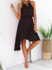 Black Irregular Ruffle Sashes Halter Neck Elegant Midi Dress