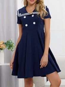 Navy Blue Patchwork Double Breasted Draped Turndown Collar Academic Style Fashion Midi Dress