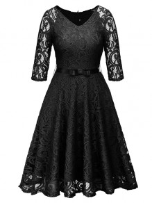 Black Lace Bow Belt V-neck Long Sleeve Cocktail Party Midi Dress