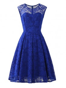 Blue Flowers Lace Round Neck Sleeveless Cocktail Party Midi Dress