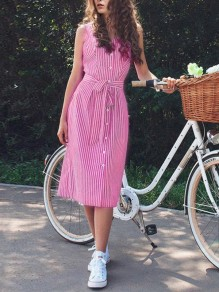 Pink-White Striped Single Breasted Sashes Backless Fashion Casual Midi Dress