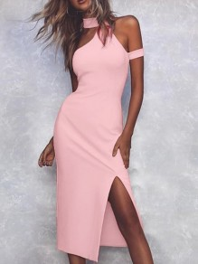 Pink Patchwork Cut Out Irregular Halter Neck Party Midi Dress