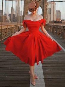 Red Bow Draped Off Shoulder Backless Party Midi Dress