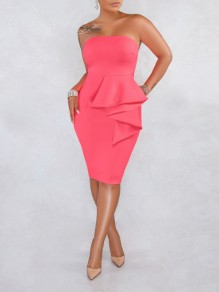 Pink Off Shoulder Cascading Ruffle Bodycon Prom Evening Party Midi Dress
