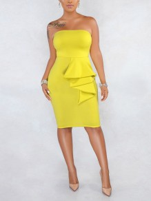 Yellow Off Shoulder Cascading Ruffle Bodycon Prom Evening Party Midi Dress