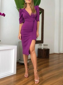 Pink Slit Irregular Sashes Bodycon Elegant Midi Dress