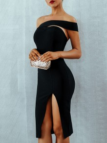 Black Cut Out Irregular Slit Bandeau Bodycon Party Midi Dress