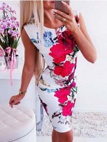 White Floral Print Bodycon Ttrendy Comfy Going out Midi Dress