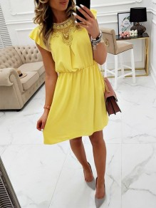Yellow Patchwork Lace Drawstring Bodycon Going out Midi Dress