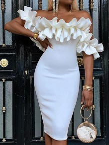 White Patchwork Lace Bodycon Off Shoulder Comfy Going out Midi Dress