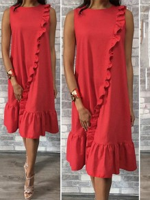 Red Patchwork Lace Ruffle Bodycon Comfy Going out Midi Dress