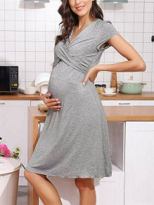 Grey Patchwork V-neck Short Sleeve Going out Midi Dress