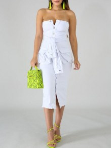 White Sashes Bandeau Off Shoulder Single Breasted Denim Bodycon Party Midi Dress