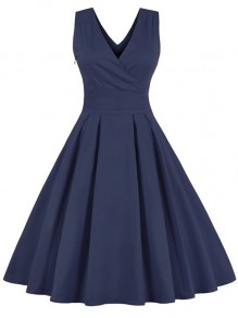 Blue Patchwork Bow V-neck Sleeveless Elegant Midi Dress