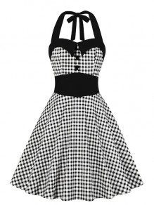 Black Plaid Buttons Others Sleeveless Fashion Midi Dress
