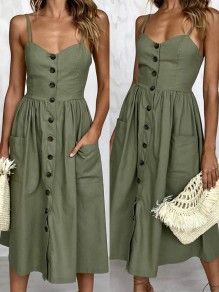 Army Green Pockets Pleated Spaghetti Strap Single Breasted V-neck Sleeveless Backless Fashion Vintage Casual Beach Midi Dress