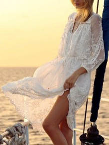 White Patchwork Lace V-neck 3/4 Sleeve Fashion Beach Midi Dress