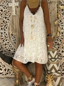 White Fashion Comfy Going out One Piece Midi Dress