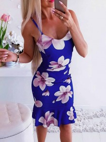 Blue Floral Wavy Edge Bodycon Comfy Going out T-Shirt
