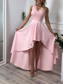 Pink Patchwork Lace Pleated High-low Going out Midi Dress