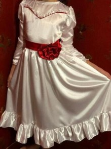 White Ruffle Bowknot 3/4 Sleeve Stephen King's It Annabel Halloween Cosplay Party Midi Dress