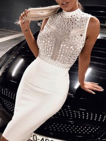 White Patchwork Grenadine Rhinestone Ttrendy Bodycon Party Midi Dress