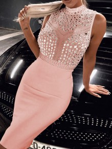 Pink Patchwork Grenadine Rhinestone Ttrendy Bodycon Party Midi Dress