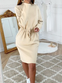 Beige Drawstring Bodycon Comfy Long Sleeve Going out Midi Dress