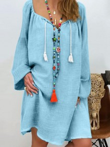 Light Blue Drawstring Bodycon Comfy V-neck Long Sleeve Going out Midi Dress