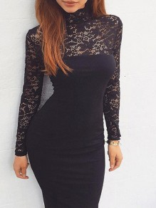 Black Patchwork Lace Bodycon Long Sleeve Going out Midi Dress