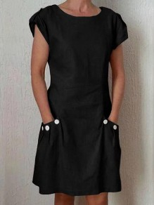 Black Buttons Pockets Round Neck Short Sleeve Fashion Midi Dress