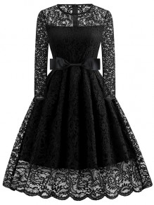 Black Bow Round Neck Long Sleeve Elegant Cocktail Party Lace Midi Dress