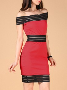 Red Striped Grenadine Off Shoulder Cocktail Party Midi Dress