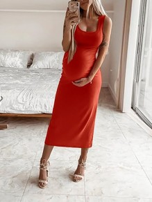 Orange Red U-neck Spaghetti Strap Bodycon Midi Casual Maternity Dress