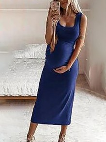 Navy Blue U-neck Spaghetti Strap Bodycon Midi Casual Maternity Dress