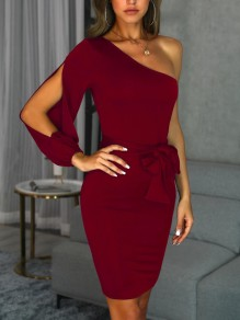 Wine Red Sashes Bow Cut Out Asymmetric Shoulder Cocktail Party Midi Dress