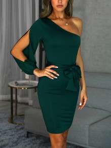 Green Sashes Bow Cut Out Asymmetric Shoulder Cocktail Party Midi Dress