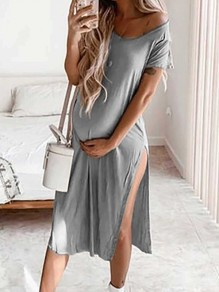 Grey Off Shoulder V-neck Short Sleeve Thigh High Side Slits Casual T-Shirt Midi Maternity Dress