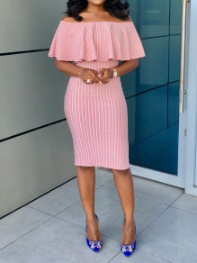 Pink-White Striped Ruffle Off Shoulder Hip Bodycon Work Casual Midi Dress