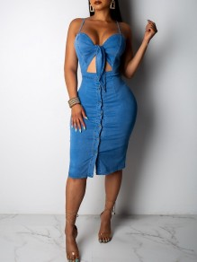Light Blue Cut Out Bow Adjustable-straps V-neck Backless Denim Hip Bodycon Casual Midi Dress