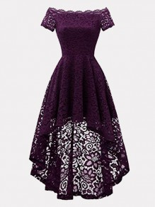 Dark Purple Patchwork Lace Off Shoulder Short Sleeve High-low Midi Dress