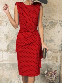 Red Polka Dot Wrap Ruched Fashion Party Casual Skater Midi Dress