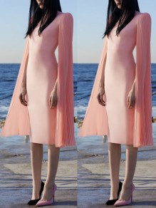 Pink Cut Out Pleated Round Neck Long Sleeve Elegant Midi Dress