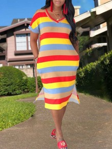 Red Pockets Rainbow Striped Print V-neck Short Sleeve Double SLit High-low Casual Midi Dress