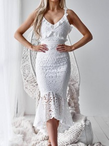 White Zipper Lace Cut Out Shoulder-Strap V-neck Sleeveless Bodycon Mermaid Work Midi Dress