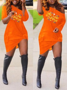 "Orange Monogram ""MELANIN POPPIN"" Print Off One Shoulder Plus Size Long Sleeve Midi Dress"